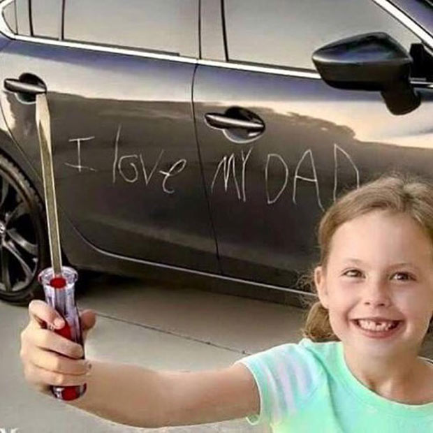 33 Funny Pics and Memes of the Day ~ girl scratches I love my dad in side of car with screw driver