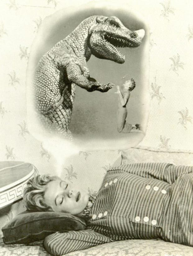 33 Funny Pics and Memes of the Day vintage ad woman dreaming of dinosaur love affair