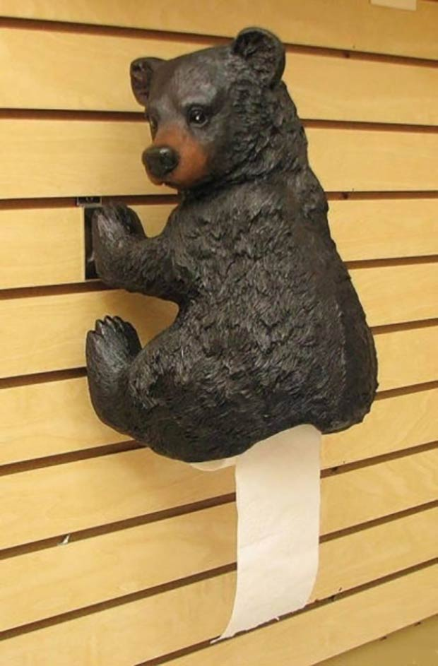 35 Funny Pics and Memes Ya Gotta See ~ bear pooping toilet paper holder