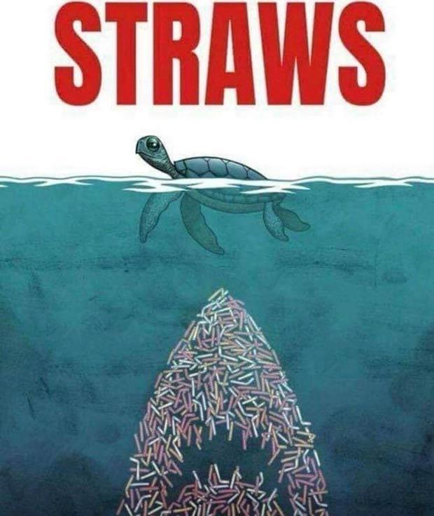 35 Funny Pics and Memes Ya Gotta See ~ jaws straws parody poster