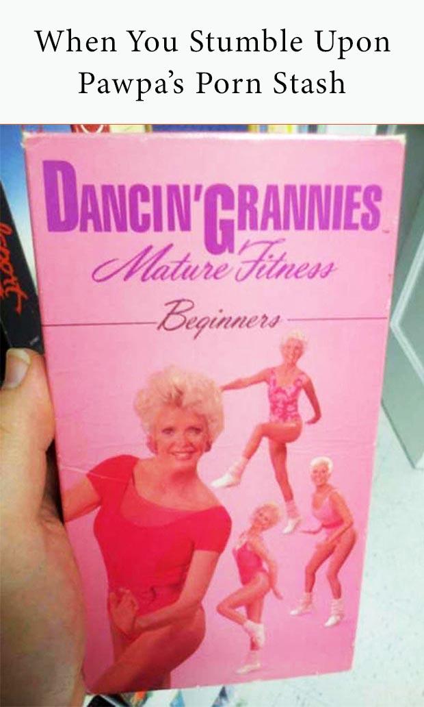 Random Humor : 35 Funny Pics and Memes ~ vintage dancing grannies mature fitness workout video tape, grandpa's porn stash