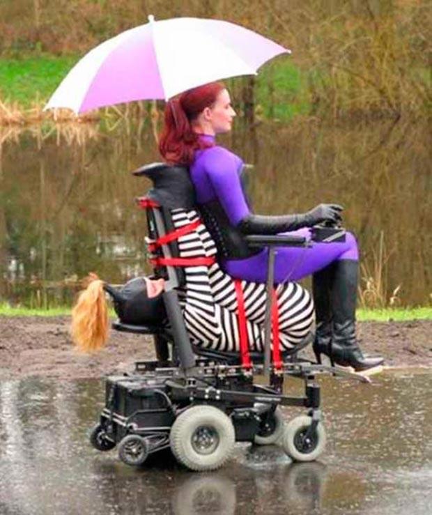 Random Humor : 35 Funny Pics and Memes ~ weird, creepy woman bondage electric wheel chair rascal