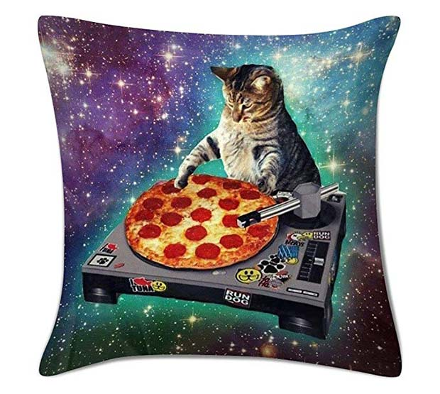 20 Funny Christmas Gifts for under $20 – DJ Cat Pizza Turntable Pillow Cover