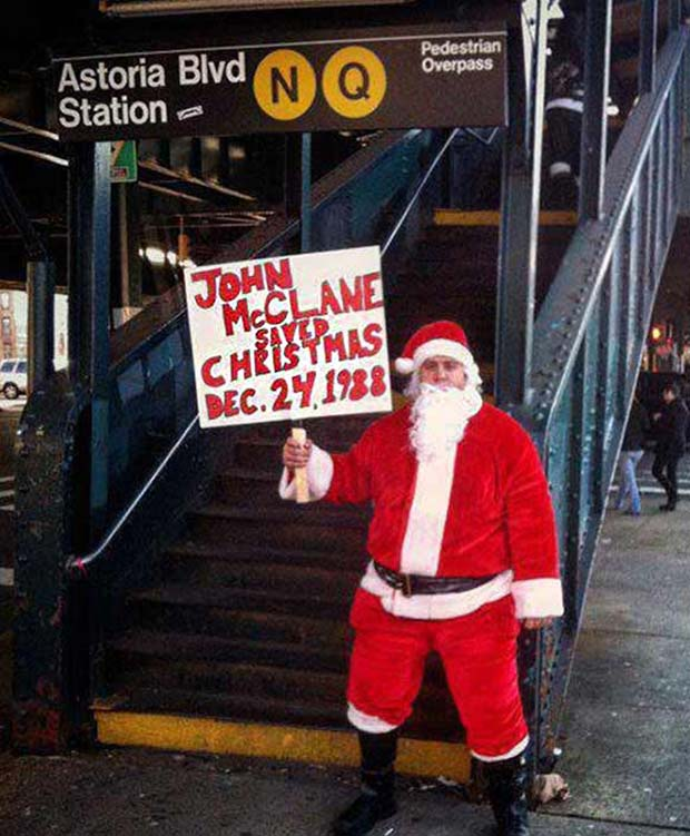 35 Funny Memes and Random Pics to Boost Your Humor Level... Santa holding funny sign, John McClain saved Christmas, Die Hard