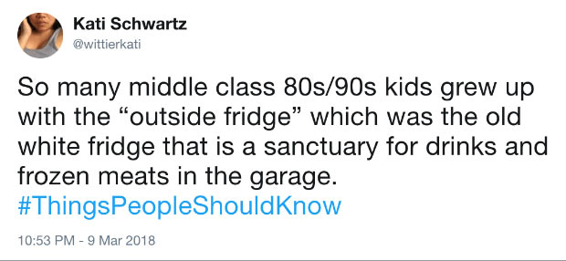 25 Things People Under Age 20 Don't Understand ~ outside fridge