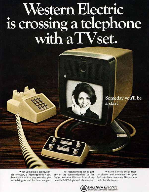 35 Funny Memes and Pics of Humor Galore ~ Vintage ad Western Electric Crossing Telephone with TV set