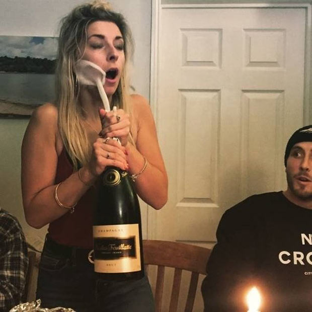 33 Funniest Memes and Pic to Get Your Laugh On ~ champagne face shot woman opening bottle