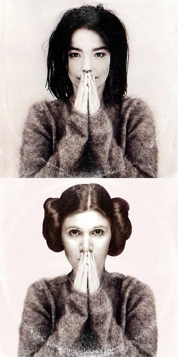 28 Star Wars ~ Classic Album Covers Mash-ups That ROCK! ~ Bjork Princess Leia