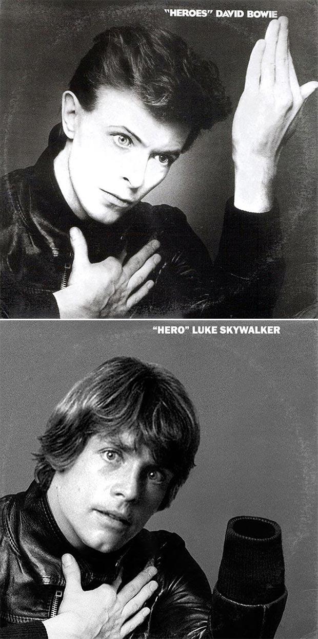 28 Star Wars ~ Classic Album Covers Mash-ups That ROCK! ~ David Bowie Heroes Luke Skywalker
