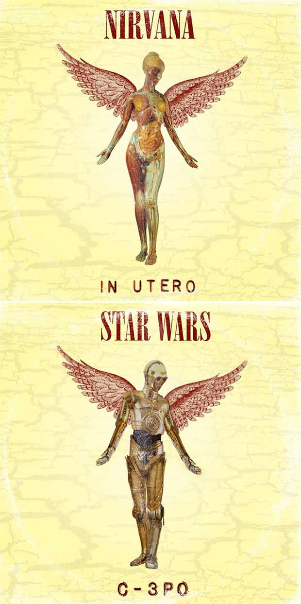 28 Star Wars ~ Classic Album Covers Mash-ups That ROCK! ~ Nirvana In Utero C-3PO