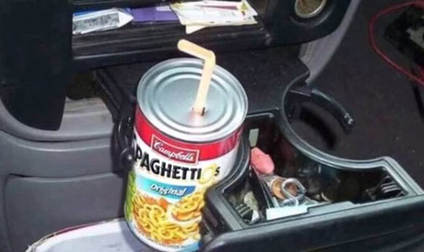35 Funny Memes and Random Pics to Fuel Your Humor ~ can spaghetti Os cup holder straw