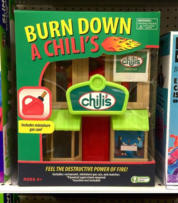 31 Hilarious Fake Toys Planted in Stores ~ burn down a chili's