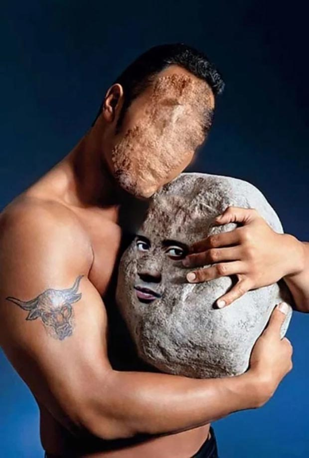 31 Funniest Memes and Pics Crazy Kooky and Comical ~ Dwayne Johnson rock face swap