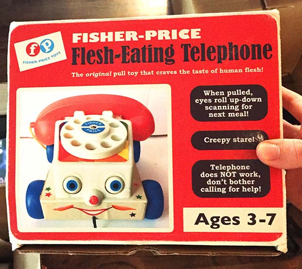 31 Hilarious Fake Toys Planted in Stores ~ flesh eating telephone