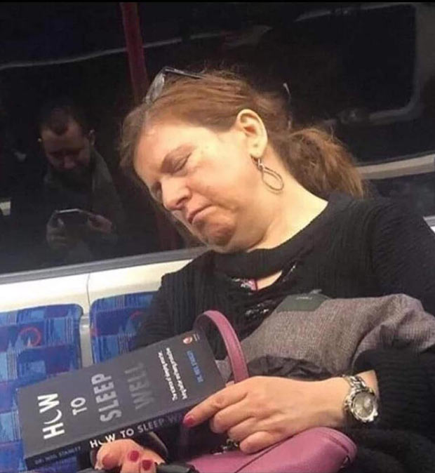 31 Best Memes and Funny Pics That'll Wet Your Eyeballs ~ woman sleeping on bus reading boo how to sleep well