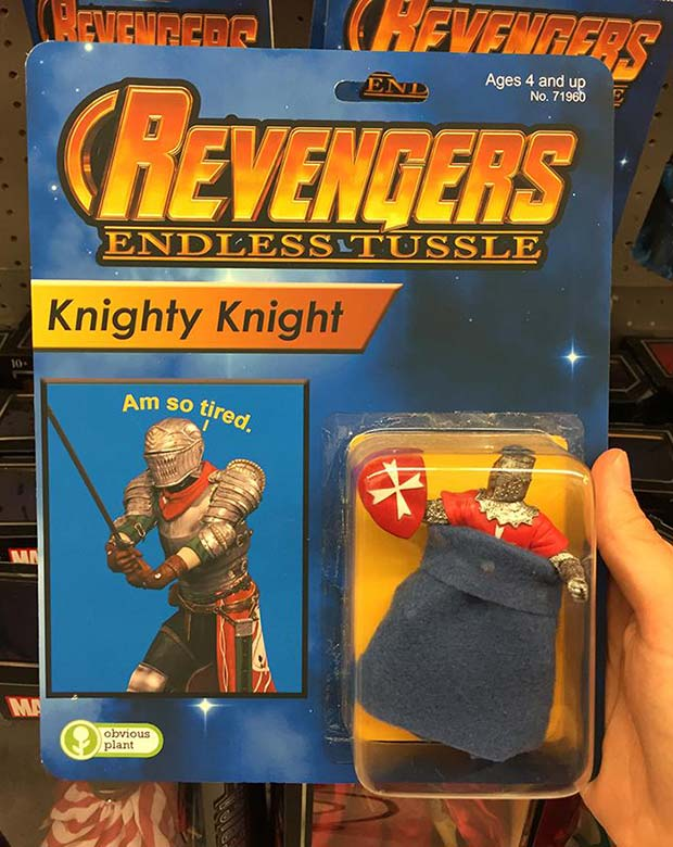 31 Hilarious Fake Toys Planted in Stores ~ revengers action figures knightly knight
