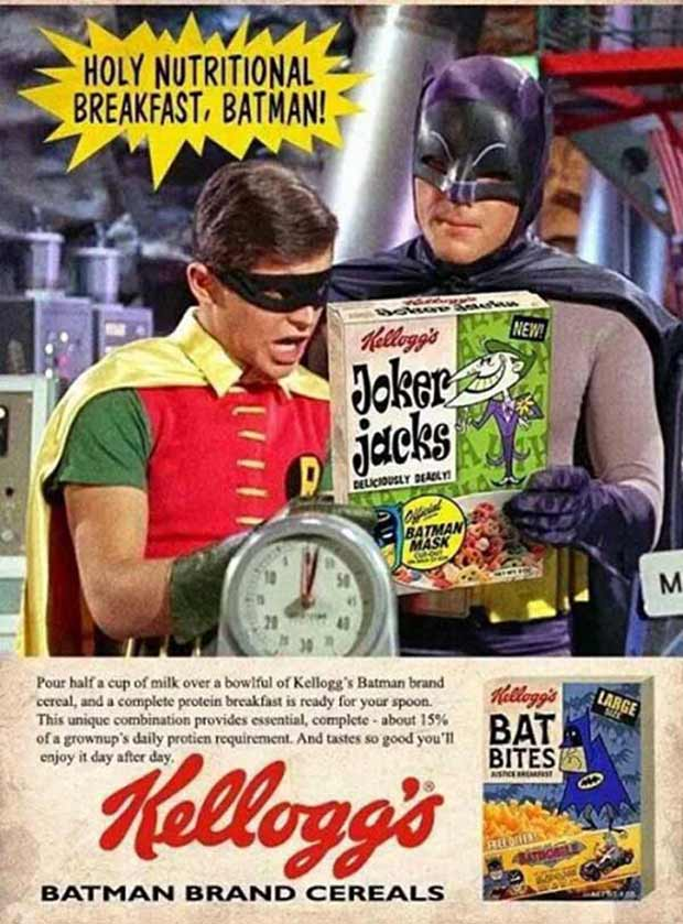 31 Funniest Memes and Pics Crazy Kooky and Comical ~ vintage ad Kellogg's bate bites cereal, batman and robin
