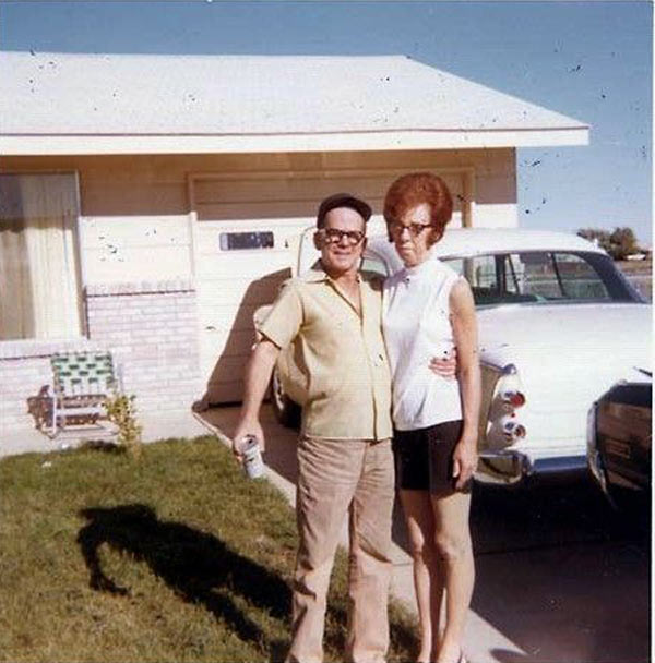 31 Funny Awkward Family Photos ~ vintage snap old couple posing in driveway 1950s