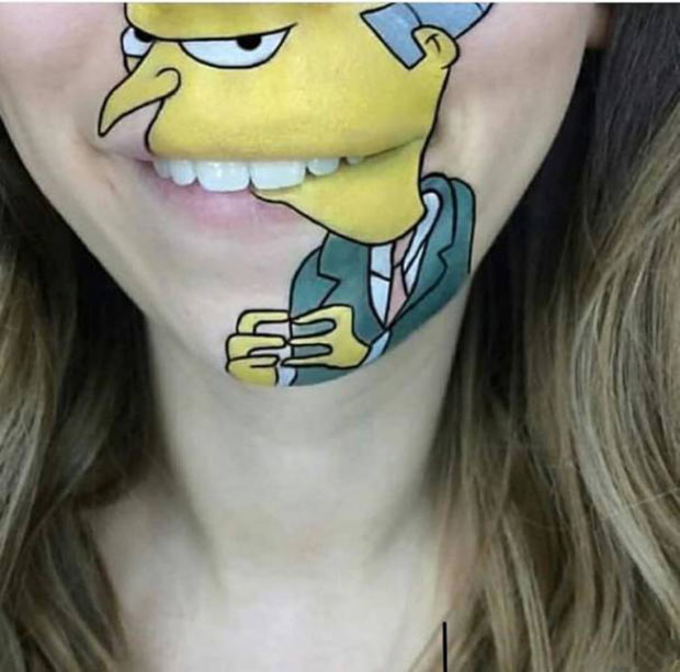 33 Funny Memes and Crazy Pics That'll Tickle Your Soul ~ face paint mouth mr. burns Simpsons