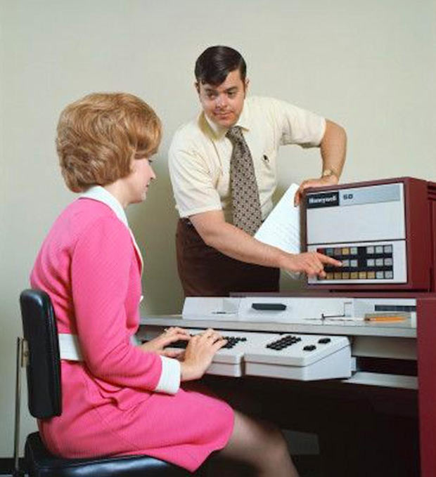 35 Funniest Memes and Random Pics That'll Twerk Your Humor ~ vintage stock photo teaching computer sexist ads