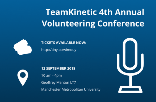 Blue banner displaying advertisement for TeamKinetic 4th Annual Volunteering Conference
