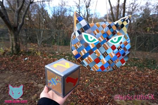 Sophia's handmade piñata and dice