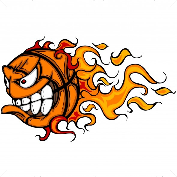 Basketball flaming. Flame cartoon vector clipart