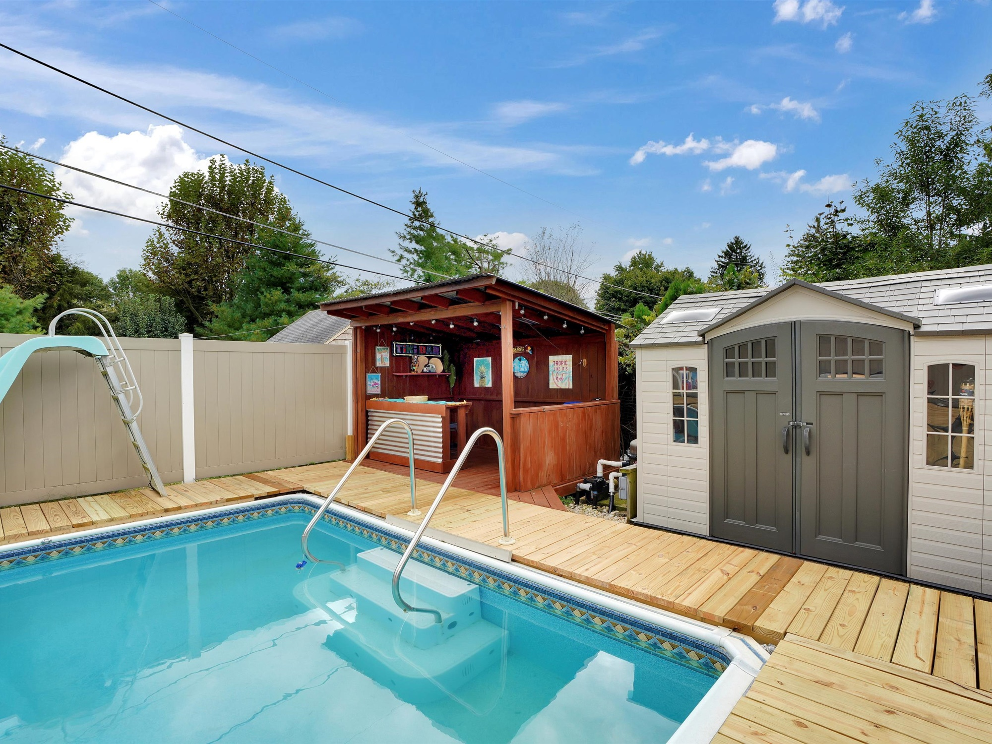 2022 Kline St - view of pool and shed
