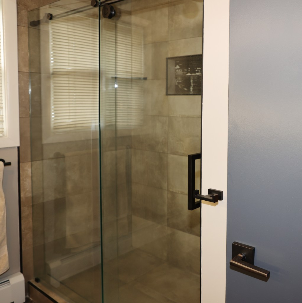 1 Brandthaven Drive - Tiled shower in main bathroom of stone stately home
