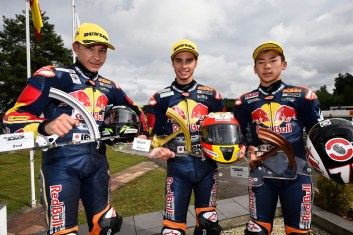 BRNO,CZECH REPUBLIC,21.AUG.16 - MOTORSPORTS, MOTORBIKE - Red Bull Rookies Cup, Grand Prix of the Czech Republic, Automotodrom Brno. Image shows Raul Fernandez (ESP), Marc Garcia (ESP) and Ayumu Sasaki (JPN). Photo: GEPA pictures/ Gold and Goose/ Gareth Harford - For editorial use only. Image is free of charge.