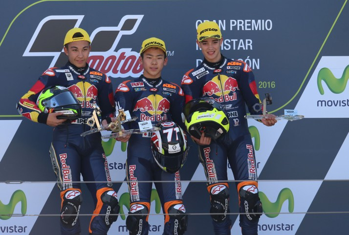 ALCANIZ,SPAIN,25.SEP.16 - MOTORSPORTS - Red Bull Rookies Cup, Grand Prix of Aragon, Motorland Aragon. Image shows For printed media only. Photo: GEPA pictures/ Gold and Goose/ David Goldman - For editorial use only. Image is free of charge.