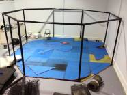 Cage welded and mats laid down.
