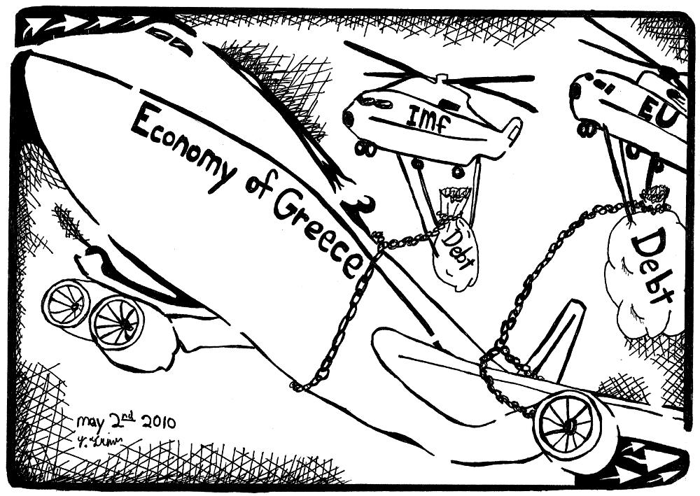 economy of greece maze cartoon