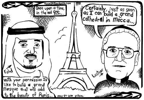 Cartoon maze of Lustiger and Fahd in Paris