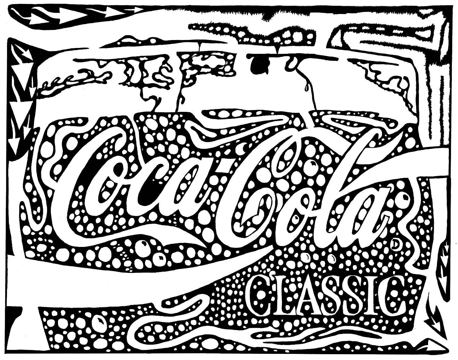 Psychedelic maze of a Coca Cola glass with bubbles and coke in it by Yonatan Frimer.