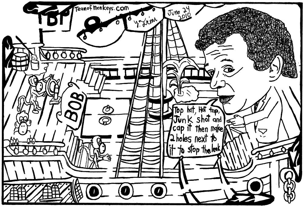 maze cartoon of Tony Hayward with a leak in his boat.