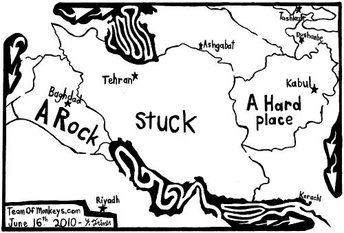 maze cartoon of Iran stuck between a rock and a hard place