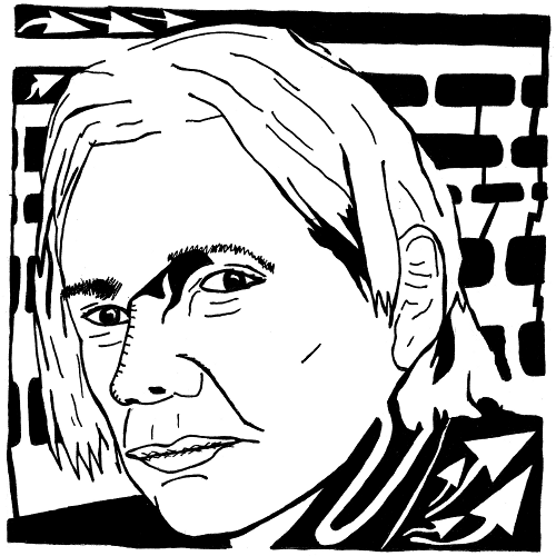 Maze portrait of Wikileaks founder Julian Assange