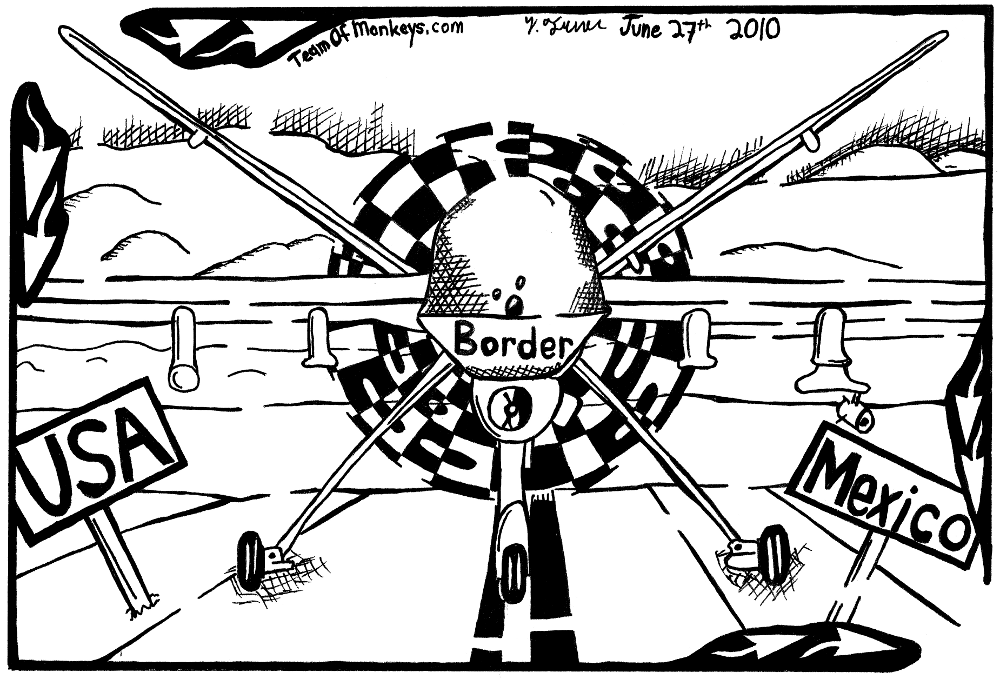 maze cartoon of reaper predator border drone