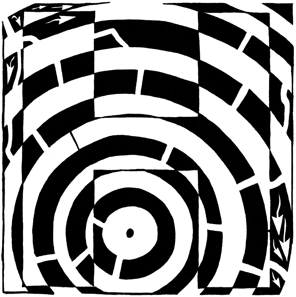 Yonatan Frimer maze of Uppercase H as in house.