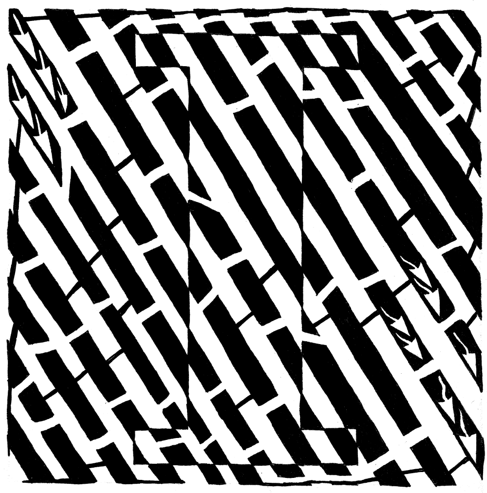 Maze art of the letter I, by Yonatan Frimer