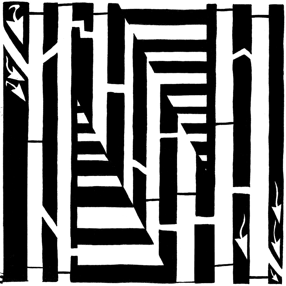 Letter B maze, fourteenth letter in the alphabet, upper-case