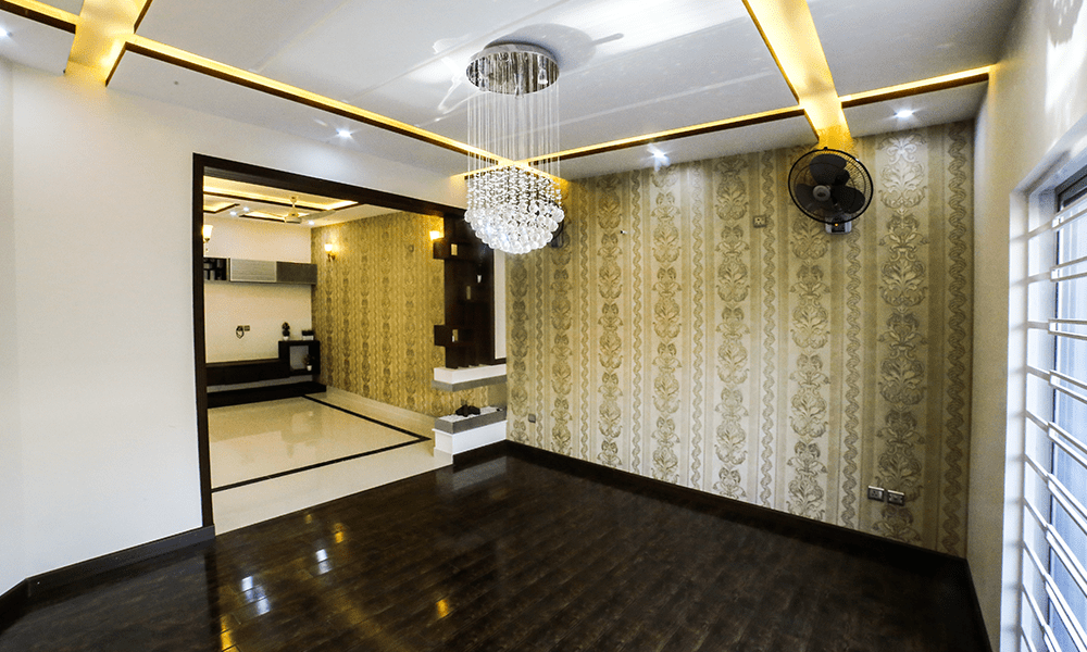 fanoos in drawing room wooden flooring wallpaper