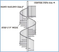 steel spiral stair grey structure house construction
