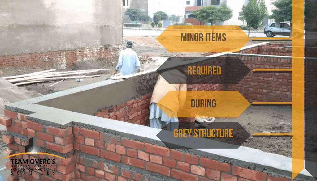 Bitumen & other materials required during Grey structure