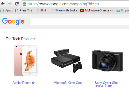 Google Shopping screen capture