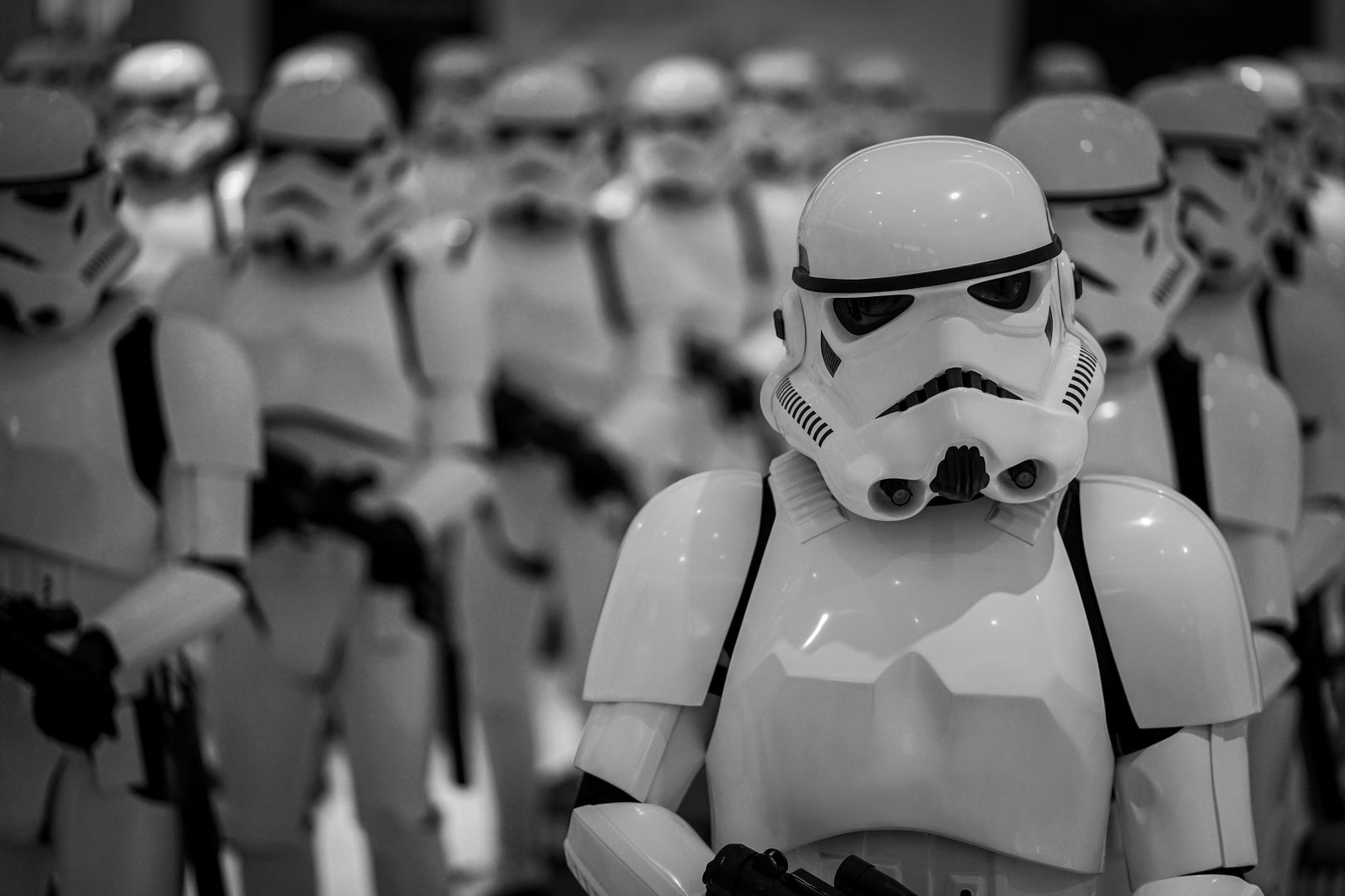 selective focus photography of Star Wars Stormtroopers