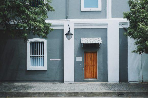 photo of brown wooden door closed