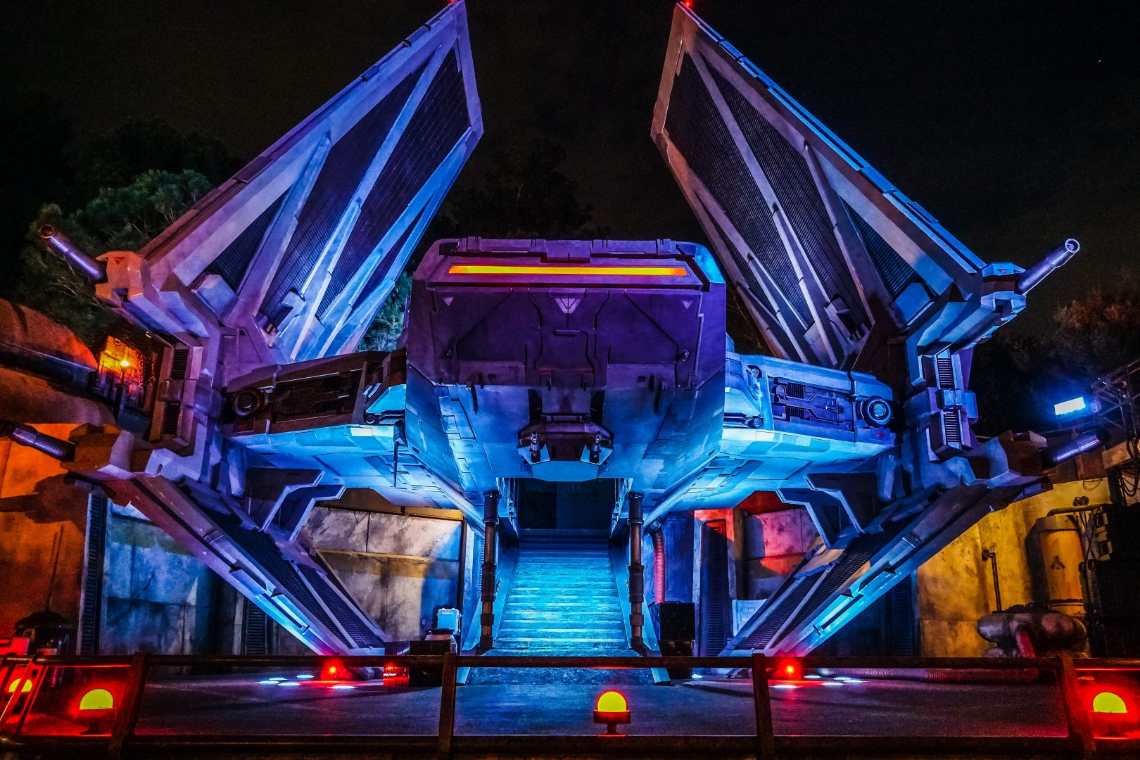 triangular plane lighted building