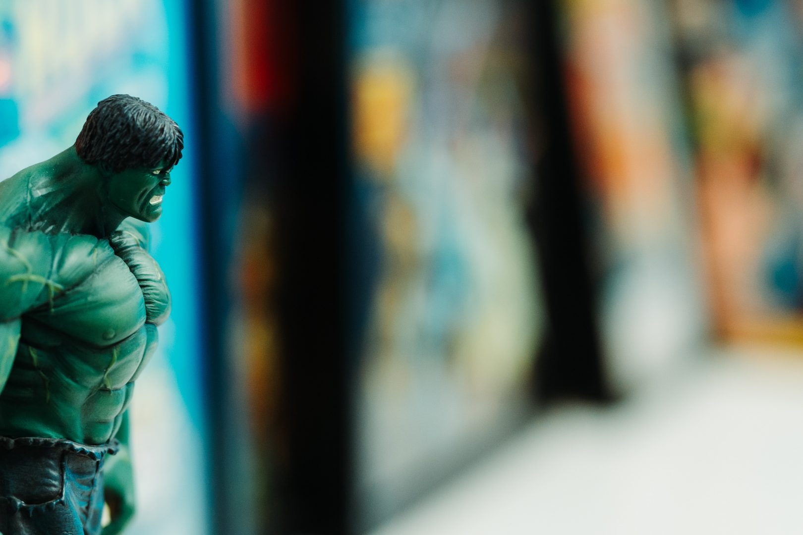 selective focus photography of The Incredible Hulk figure